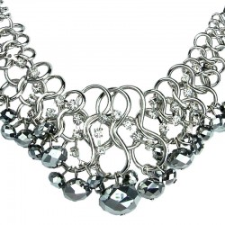 Cascade Silver Faceted Bead Chunky Chain Chandelier Statement Necklace