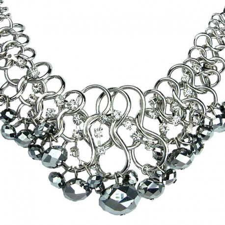 Fashion Bold Costume Jewellery, Cascade Silver Faceted Bead Chunky Chain Chandelier Statement Necklace