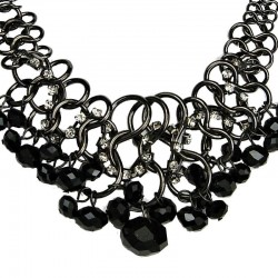 Fashion Bold Costume Jewellery, Cascade Jet Black Faceted Bead Chunky Chain Chandelier Statement Necklace