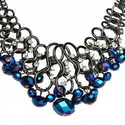 Cascade Royal Blue Faceted Bead Chunky Chain Chandelier Statement Necklace
