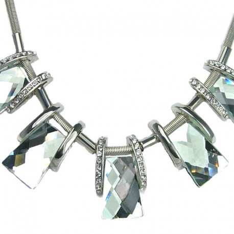 Geometric Art Deco Fashion Jewellery, Bib Clear Trapezoid Glass Statement Costume Necklace