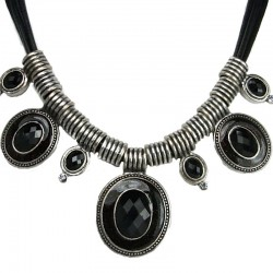Black Oval Rhinestone Statement Cord Necklace