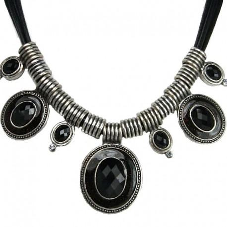 women Costume Jewellery, Fashion Black Oval Rhinestone Statement Cord Necklace