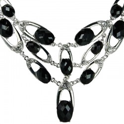 Women Costume Jewellery, Bold Black Oval Rhinestone Meteor Bib Cascade Fashion Statement Necklace