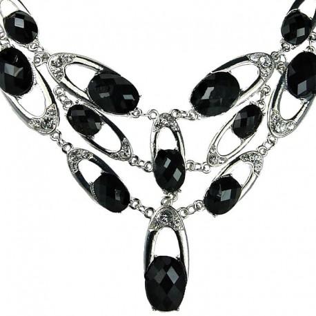 Women Costume Jewellery, Bold Black Oval Rhinestone Meteor Bib Cascade Fashion Statement Necklace