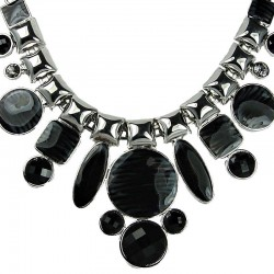 Chunky Large Fashion Jewelry, Black Enamel Geometric Bold Statement Costume Necklace