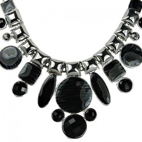 Chunky Large Fashion Jewelry, Black Enamel Geometric Bold Statement Costume Necklace