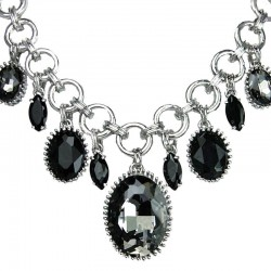 Black Oval Teardrop Charm Circle Chain Cascade Statement Necklace