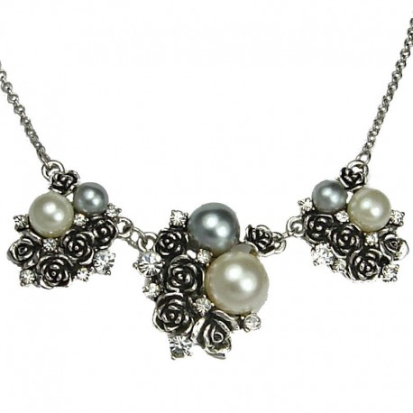 Women Costume Jewellery, Fashion Gift, Ivory Grey Pearl Silver Black Cluster Rose Dressy Necklace