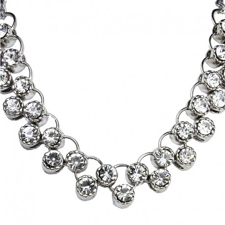 Cheap Fake Diamond Costume Jewellery, Fashion Gift, Clear Diamante Dressy Crescent Bib Necklace