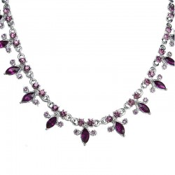 Dress Fashion Jewellery, Women's Gift, Purple Teardrop Diamante dressy Costume Necklace