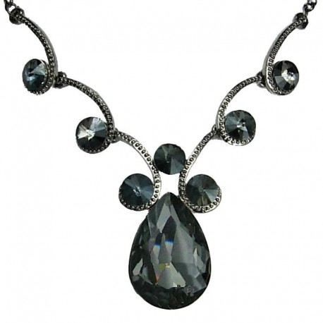 Women's Costume Jewellery, Wedding Gift, Smokey Grey Teardrop Rhinestone Fashion Necklace