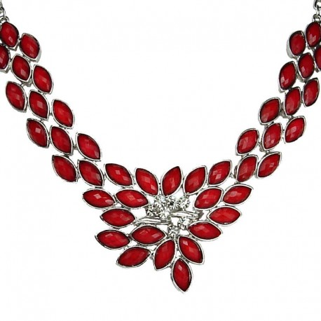Bridal Costume Jewellery, Wedding Gift, Fashion Red Galaxy Rhinestone Statement Necklace