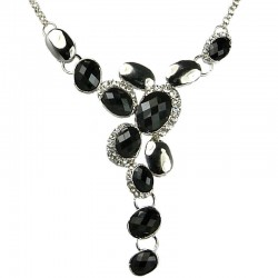 Black Rhinestone Oval Drop Necklace