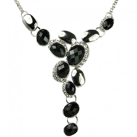 Bib Fashion Jewellery, Women's Gift, Black Rhinestone Oval Drop Costume Necklace