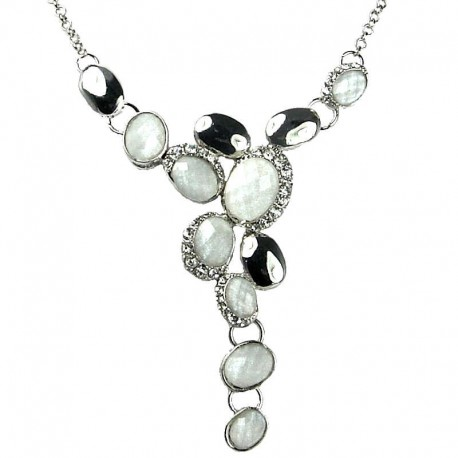 Women's Gift, Bib Costume Jewellery, White Rhinestone Oval Fashion Drop Y-shaped Necklace
