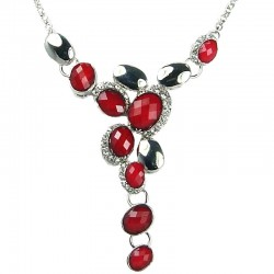 Red Rhinestone Oval Drop Necklace