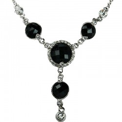 Bib Costume Jewellery, Women's Gift, Black Rhinestone Circle Drop Fashion Y-shaped Necklace