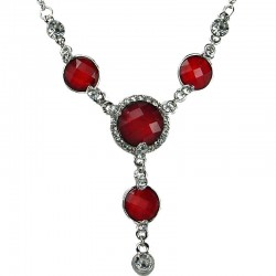Women's Gift, Bib Fashion Jewellery, Red Rhinestone Circle Drop Costume Necklace