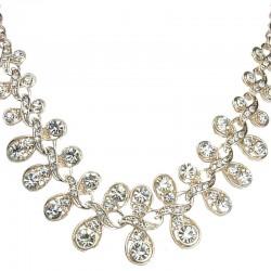 Clear Diamante Twist Champagne Gold Necklace