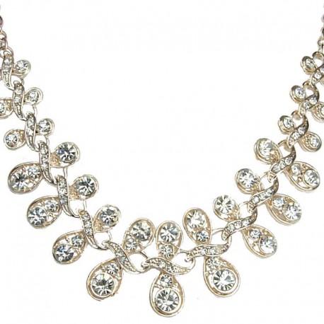 Bib Costume Jewellery, Fashion Clear Diamante Twist Champagne Gold Necklace