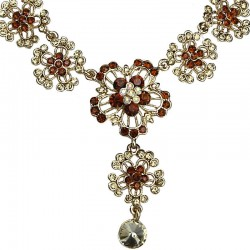 Brown Diamante Flower Drop Gold Tone Necklace