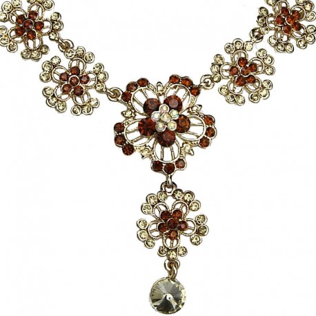 Women's Fashion Jewellery, Bib Brown Diamante Flower Drop Gold Tone Costume Necklace