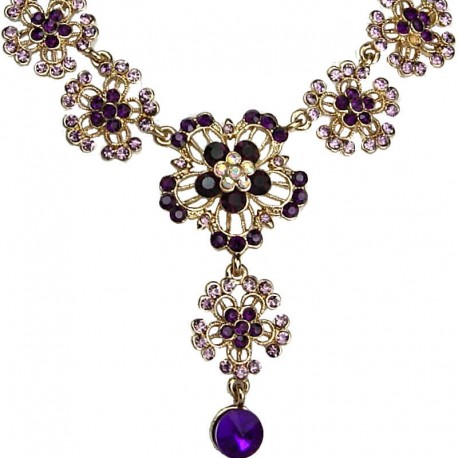 Women' Bib Costume Jewellery, Purple Diamante Flower Drop Gold Tone Fashion Necklace
