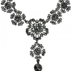 Women's Costume Jewellery, Fashion Bib Grey Diamante Flower Drop Necklace