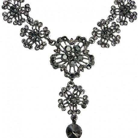 Women's Costume Jewellery, Fashion Bib Grey Diamante Flower Drop Necklace