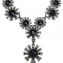 Women's Costume Jewellery, Bib Black Diamante Sunshine Circle Drop Fashion Necklace
