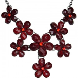 Red Rhinestone Flower Statement Necklace