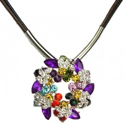 Women''s Costume Jewellery, Girls Gift, Fashion Flower Miulti-Colour Diamante Floral Cord Necklace