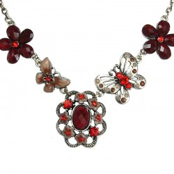 Floral Costume Jewellery, Fashion Women Gift, Red Rhinestone Secret Garden Flower Necklace