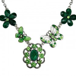 Floral Costume Jewellery, Green Rhinestone Secret Garden Fashion Flower Necklace