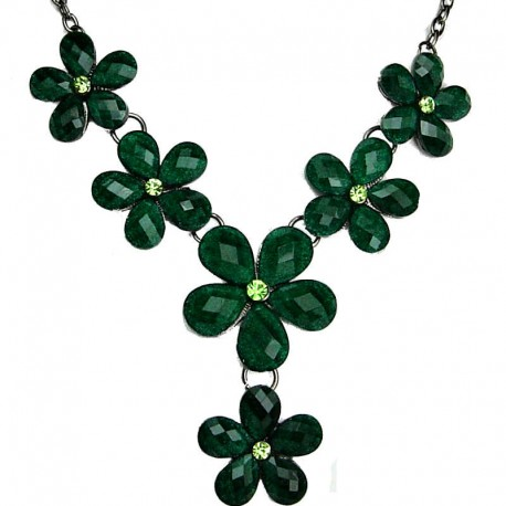 Floral Fashion Jewellery, Green Rhinestone Flower Drop Y-Shaped Costume Necklace