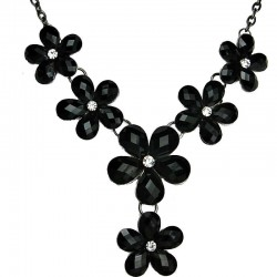 Floral Costume Jewellery, Fashion Black Rhinestone Flower Drop Y-Shaped Necklace
