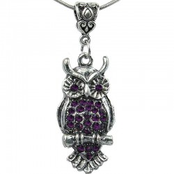 Women's Costume Jewellery, Girls Gift, Fashion Purple Diamante Wise Owl Pendant