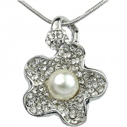 Women's Costume Jewellery, Fashion Necklace, Clear Diamante White Pearl Flower Pendant