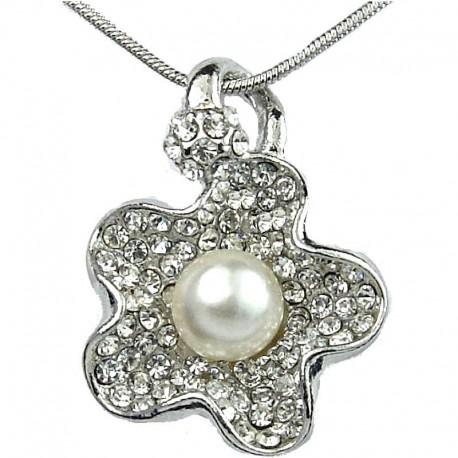 Women's Costume Jewellery, Fashion Necklace, Clear Diamante White Pearl Flower Pendant