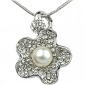 Clear Diamante White Pearl Flower Pendant