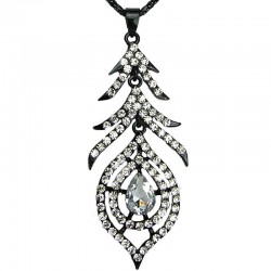 Women's Fashion Jewellery, Black Feather Clear Diamante Teardrop Long Drop Costume Pendant