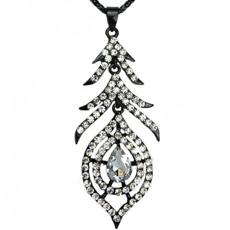 Women's Fashion Jewellery, Black Feather Clear Diamante Teardrop Long Drop Costume Pendant