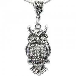 Women's Costume Jewellery, Girls Gift, Fashion Clear Diamante Wise Owl Pendant