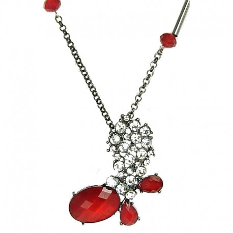 women's gift, Fashion Jewellery, Red Rhinestone Butterfly Pendant Costume Long Necklace