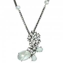 White Rhinestone Butterfly Pendant Long Necklace