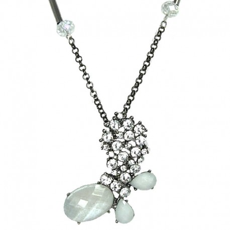 Women's Gift, Fashion Jewellery, White Rhinestone Butterfly Pendant Costume Long Necklace