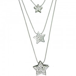 Clear Diamante Triple Star Long Necklace