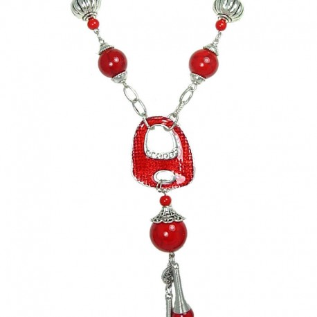 Chic Costume Jewellery, Fashion Red Jasper Natural Stone Long Drop Long Necklace