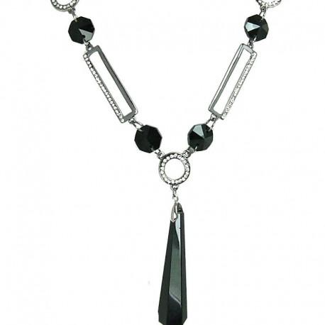 Women's Gift, Costume Jewellery, Black Geometric Drop Fashion Long Necklace